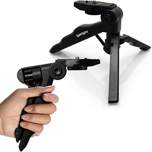 iGadgitz 2 in 1 Pistol Grip Stabilizer and Mini Lightweight Table Top Stand Tripod for Digital Camera, DSLR, Video Camera & Camcorder