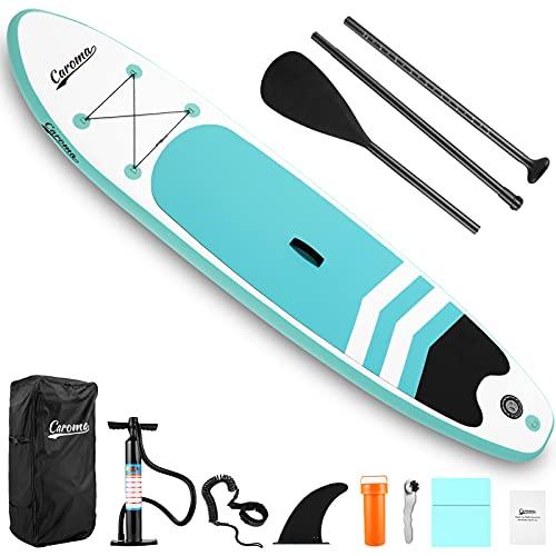 Caroma Tablas Hinchables de Paddle Surf, Paddle Remo de Ajustable Inflable Sup   Bomba   Aleta Central Desprendible   Surf Leash   Mochila   Kit de Reparación (Azul Claro, 305x71x10cm)