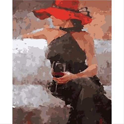 Frameless Canvas Schilderij Wijn Meisje DIY Olie Schilderijen, door Getallen Handgeschilderde Figuur Schilderijen, van Moderne Europese Abstract Paing 40x50cm