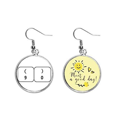 Keyboard-Symbol 9 0, Art-Deco-Geschenk, modisch, Ohrhänger, Sonnenblumen-Ohrringe