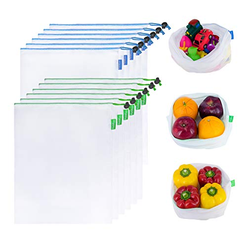 Prefer Green 12PCS Reusable Produce Bags Premium Zero Waste Mesh Bags for Storage Fruit Vegetables EcoFriendly With Colorful Tare Weight on Tags 2 Sizes