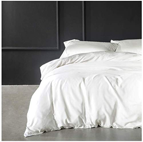 Solid Color Egyptian Cotton Duvet Cover Luxury Bedding Set High Thread Count Long Staple Sateen Weave Silky Soft Breathable Pima Quality Bed Linen (Queen, White)