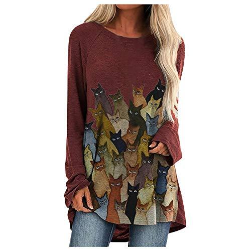 Camicia Donna Maglia Manica Lunga Camicetta Casuale T-Shirt Top Donna Farfalla Stampa Camicie Pile O-Collo Moda Cotone (L,Vino)