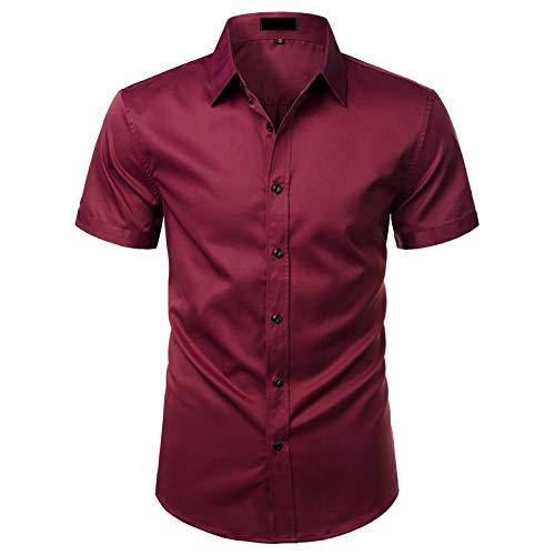 SHENSHI Camisas Hombres Manga Corta,Camisas Abotonadas, Camisa De Fibra De Bambú Elástica, Sin Planchar, Fácil Cuidado, Trabajo Comercial, Chemise Homme, Rojo Vino, Mediano