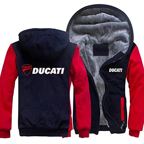 FXZFYYY Ducati Red Devils Logo Race Track Sports Car Team Más Suéter Acolchado De Terciopelo para Hombres Y Mujeres