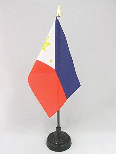 AZ FLAG TISCHFLAGGE Philippinen 15x10cm goldene splitze - PHILIPPINISCHE TISCHFAHNE 10 x 15 cm - flaggen