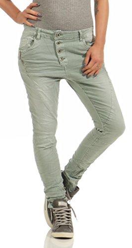 Fashion4Young 11424 LEXXURY Damen Jeans Röhrenjeans Hose Boyfriend Baggy Haremscut Damenjeans Slim-Fit (Khaki, XXL-44)