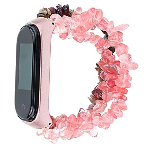 Pulsera de cuentas para mujeres para MI BAND 6 5 4 3 Reloj Correa Hecho a mano Forma de piedra Forma de pulsera para cinturón de MIBAND con marco de metal DFKE