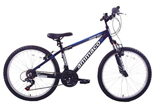 Ammaco Crossfell 24' Wheel Boys Kids Mountain Bike Suspension 21 Speed Shimano 14' Frame Alloy Black/Blue Age 8+