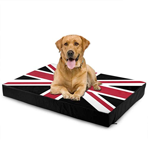 WUTMVING Dog Bed Cover Waterproof Union Jack Con Nero Della Bandi Large Dog Cushion Beds Dog Seat Cushion Waterproof 76 X 51 X8cm with Zipper Removable Cover for Dogs & Cats