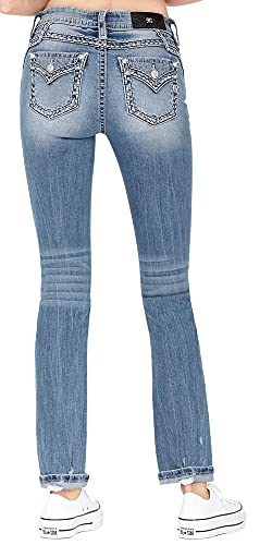 Miss Me Women's Mid-Rise Straight Leg Jeans with Heavy Stitch Border Details (Dark Blue, 34)