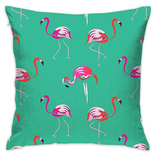 maymer Fundas de cojín de 45,7 x 45,7 cm, diseño de flamencos rosas decorativos, fundas de cojín cuadradas para sofá, dormitorio, coche, con cremallera invisible