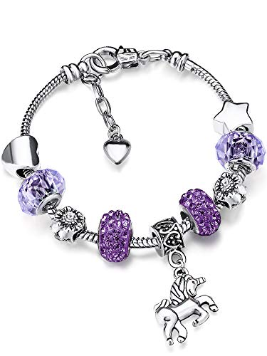 Bracelet Breloque de Licorne Bracelet Strass Cristal Brillant avec Ensemble de Cartes-Cadeaux Licorne pour Fille Dame (Light Purple, 18)