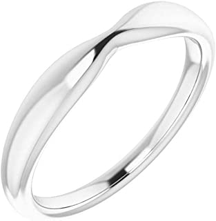 FB Jewels 14k White Gold Wedding Ring Band for 8.2mm Round Ring Size 7
