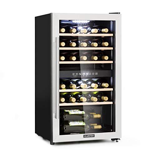 Klarstein Vinamour - Nevera para vinos, Temperatura 5-22 °C, Pantalla LCD, Panel de control táctil, Acero inoxidable, 2 zonas de refrigeración, Capacidad de 80 Litros, Para 29 botellas, Negro