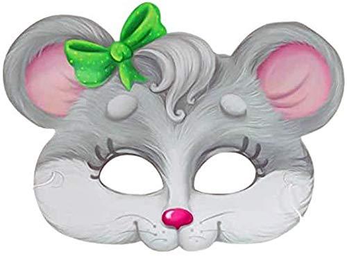 LeGran Maske Mäuschen Maus 18 x 24 cm, mit Gummiband, Set mit 5 Stück, aus Karton