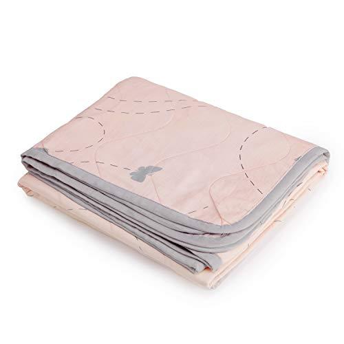 The White Cradle Orgánico La más suave manta/colcha para la cuna/camita, con 3 capas de tela suave, diseños reversibles, 2 caras Muselina impresa y centro de franela, 95 x 120 cm - Mariposa