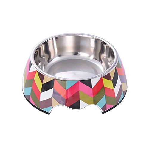 Yunt classique Multicolor épais Glaciaire Motif pour animal domestique Bol avec Mélamine en acier inoxydable bols pour animal domestique