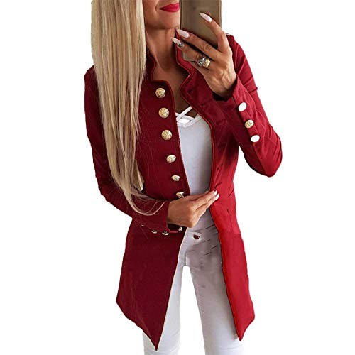 Huaheng Vrouwen Dames Casual Single-breasted Formele Lange Blazer Jas Slim Fit Jas M Rood