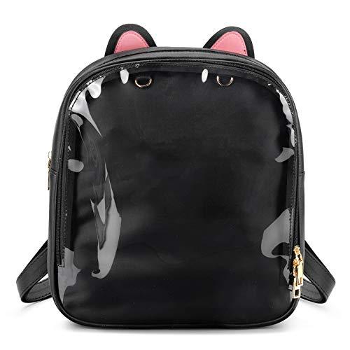 SteamedBun Cat Ita Bag Ears Candy Leather Ita Backpack Girls Transparent Window School Pins Bag