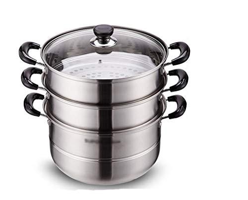 Pâtes Pot, empilable 3 Tier Cookware Épaississement Marmite avec Passoire et légumes vapeur panier 28CM en diamètre (Size : 28 * 28 * 34CM)