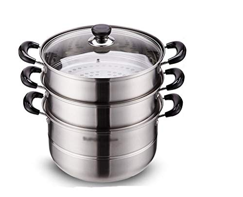 Z-W-DONG Pasta Pot, Stackable verdikking 3 Tier Cookware Stockpot met zeef En Groentestomer Basket diameter van 28 cm Cookware (Size : 28 * 28 * 34CM)