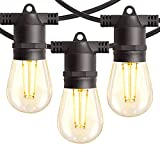 Amico 48FT LED Outdoor String Lights with Shatterproof LED Filament Bulbs for Patio, Bistro, Cafe,...