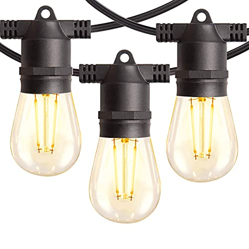 Amico 48FT LED Outdoor String Lights with Shatterproof LED Filament Bulbs for Patio, Bistro, Cafe, Backyard, Porch, Party - Warm White