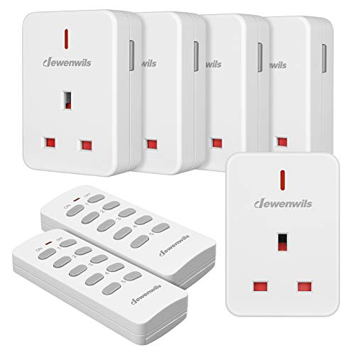 DEWENWILS Remote Control Plug Socket, 13A/3120W Heavy Duty Wireless Light Switch, 30m/100ft Long Range, Programmable, CE and RoHS Listed, 5 Pack Sockets and 2 Remotes