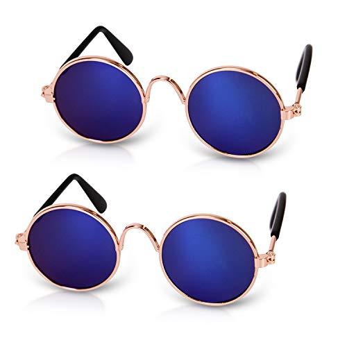 PETCUTE Gafas de Sol para Gatos Perros Gafas de Sol Redondas Lindo Gafas de Sol Divertidas para Mascotas 2 Pares