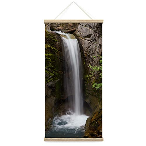 """Bestdeal Depot Hanging Poster Mountain Waterfalls XVI Landscape Multicolor Photography Relax/Calm Traditional Waterfall Canvas Prints Wall Art for Living Room, Bedroom - 18""""x36"""""""
