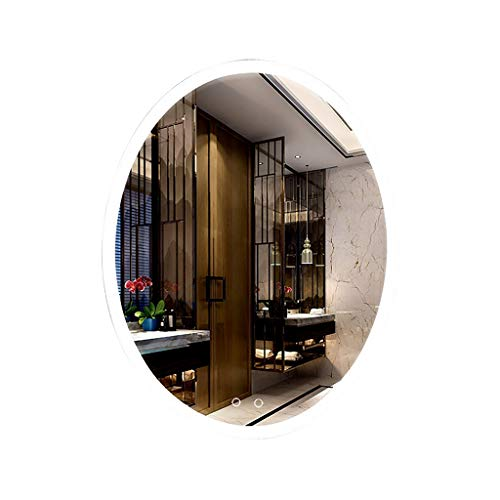 FENGHUANG Specchio da Bagno A LED, Specchio Anti-Esplosione Fissato al Muro di Trucco, con Interruttore del Sensore + Interruttore di Disappannamento 500 Mm * 700 Mm (Luce Bianca, Ovale)