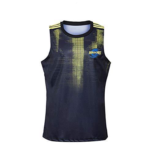 Rugby-Fußball-Trikot für Herren, 2020 Hurricane, ärmellos, Elite Edition Trikot, kurzärmelig, Stickerei, Fans Version T-Shirts Gr. S, farbe