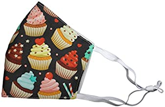 Cupcakes Black Face Mask Reusable Adjustable Ear Loops Nose Wire Filter Pocket Made in USA Comfortable Cotton Washable