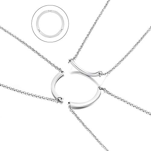 Friendship Best Friend Necklaces Half Circle Matching BFF Necklace Sliver for 2/3 Teen Girls Women Friends Sisters Gifts
