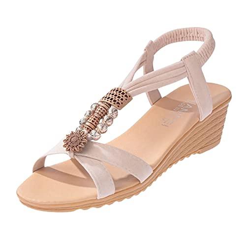 joyvio Cuñas Sandalias de Mujer Sandalias de tacón Alto Pendiente Bohemia con Zapatos Romanos Mujer Verano Tiras Punta Cerrada Talla Plana Flops (Color : White, Size : 37)
