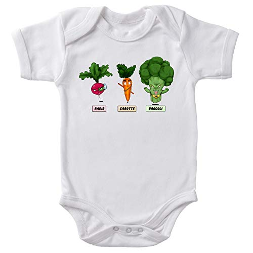Body bébé manches courtes Blanc parodie Dragon Ball Z - DBZ - Sangoku, Broly et Raditz - Super Héros de la Planète Végétale(Body bébé de qualité supérieure de taille 3 mois - imprimé en France)