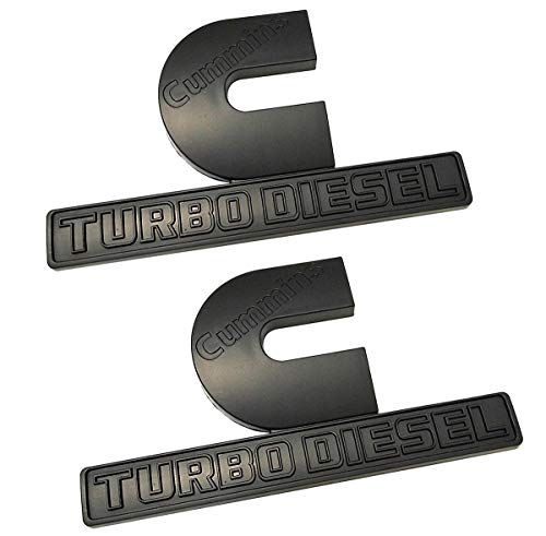 Yuauto 2 Pack Cummins Turbo Diesel Emblems 3D Decal Badges Replacement for Dodge Ram 2500 3500 Nameplate Emblem Mopar (Black)