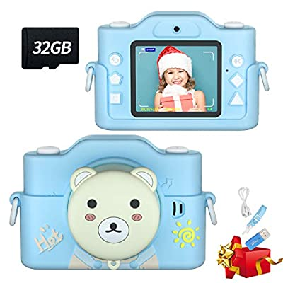 HaFundy Kids Camera, Toy Camera with 32GB SD Card ?Dual Camera, HD 1080p Lens Kids Digital Camera with MP3 Player, Child Camera Video Recorder with 2.0 Inch IPS Screen, Kids Selfie Camera for 2-12 from HaFundy