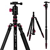 PHOPIK 79 inches Carbon Fiber Camera Tripod Monopod with 360 Degree Ball Head,1/4 inch Quick Shoe Plate,Professional Tripod Load up to 26.5 pounds, 2 in 1 Collapsible Ultra Lightweight Travel Tripod