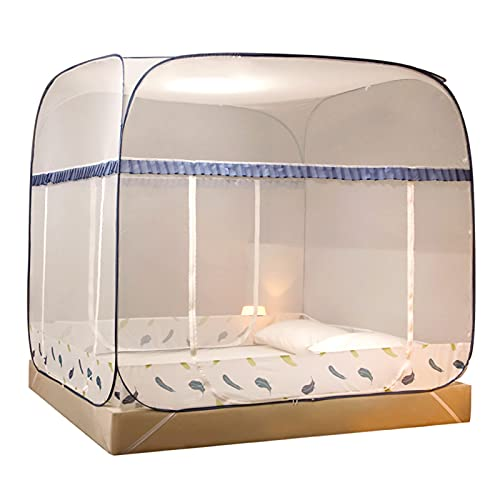 Mosquitera Tienda De Mosquitera para Acampar Al Aire Libre, Casa Cama Individual/Cama Doble Mosquitera, Diseño De Prevención De Caídas De Bebés (Color : Blue, Size : 1.8x2x1.7m)