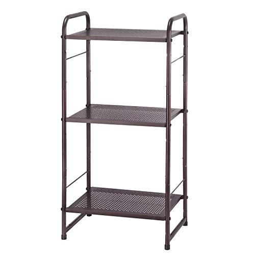 Simple Trending 3-Tier Adjustable Shelving Unit Storage Rack, Expandable & Stackable Kitchen Laundry Bathroom Cabinet Organizer, Bronze