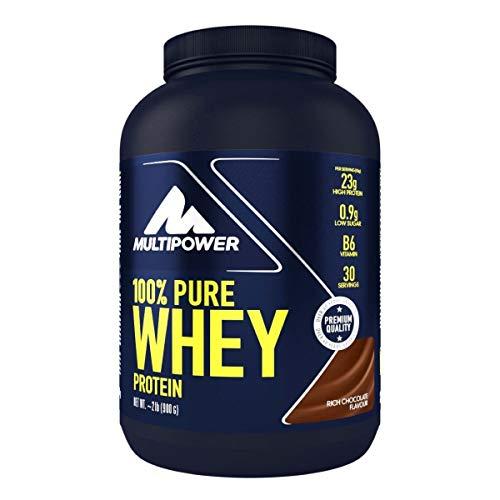 Multipower 100% Pure Whey Protein – wasserlösliches Proteinpulver mit Schokoladen Geschmack –  Eiweißpulver mit Whey Isolate als Hauptquelle – Vitamin B6 und hohem BCAA-Anteil – 900 g