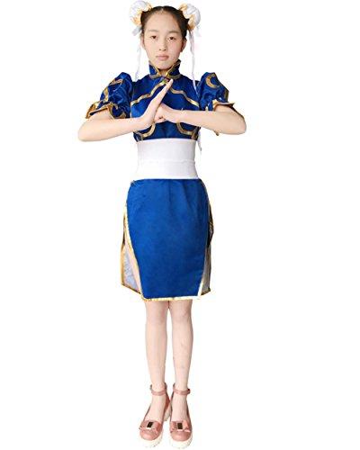 Double Villages Superior Street Fighter Chun Li Traje de cosplay Chun Li azul vestido anime Street Fighter Cosplay disfraz Lolita para niñas (S)