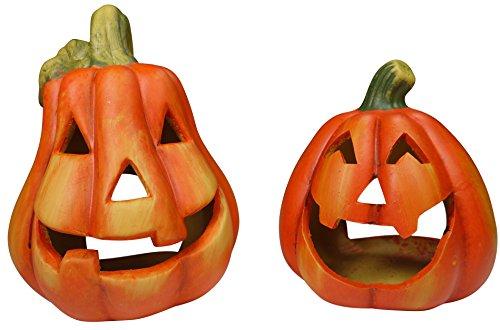 khevga Kürbis Deko Keramik: Windlicht Herbst im 2er Set Halloween Dekoration