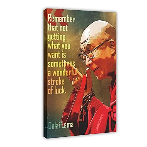 Póster de Dalai Lama Cita Recuerda Que No Conseguir Estudiando Lienzo Póster de Pared Decoración Cuadro Cuadro para Sala Dormitorio Decoración Marco: 60 × 90 cm