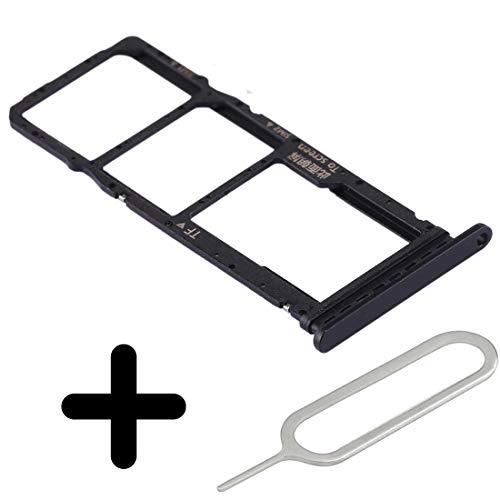 Tech Stor3 Adattatore Scheda Dual SIM + Perno Compatibile con Huawei P40 Lite E - Supporto Scheda Memoria (Slot Memory Card) 2 Carte sim +Micro SD Ricambio-Colore Nero