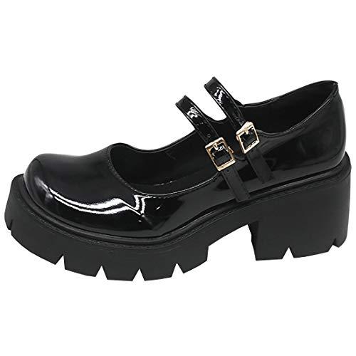 Etebella Damen Blockabsatz Plateau Gothic Lolita Pumps Mary Jane Lack Riemchen Halbschuhe Vintage School Uniform Schuhe(Schwarz Lack,39)