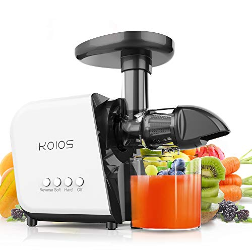 KOIOS Juicer, slow Juicer Extractor with reverse function, cold press Juicer Machines with quiet Motor, high nutrient fruit and vegetable Juice