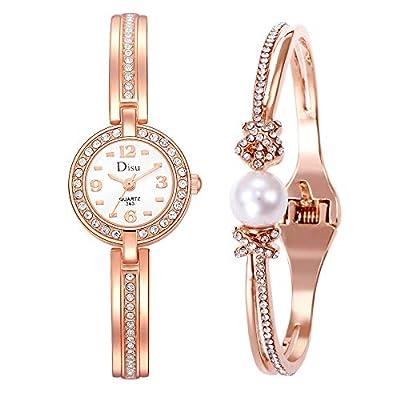 Watch for Girls,Temperament Girl Watch Bracelet Set Chain Watch Birthday Gift(Gold)